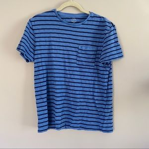 J Crew Blue Striped Graphic T-Shirt
